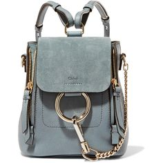 Chloé Faye mini leather and suede backpack (36,590 MXN) ❤ liked on Polyvore featuring bags, backpacks, blue, snap backpack, mini rucksack, leather bags, leather backpack and mini leather backpack