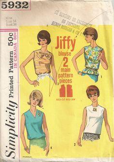 1965 Jiffy Blouse Simplicity 5932