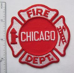 CHICAGO FIRE DEPARTMENT Red White Patch