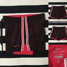 "Nike women's athletic shorts sz S ⚾️ Nike women's athletic shorts sz S ⚾️ great used condition, burgundy (almost brown) color with pink and white stripe detail and swoosh, short liner is pink, elastic drawstring waistband, length/inseam of mesh 4"", short liner length/inseam 5.5"", material is polyester and spandex ⚾️ See other Nike and athletic listings in my closet⚾️ Nike Shorts"