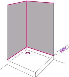 Tragen Sie in den Ecken transparente Acrylfugen auf!