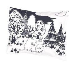 Moomin - Pillowcase -Evening- black and white, 55x65 cm (Finlayson): Amazon.co.uk: Kitchen & Home