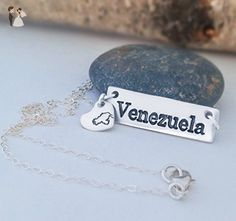 Venezuela te llevo en el pecho cadena de plata para mujer con dije de corazón y mapa de Venezuela - Wedding nacklaces (*Amazon Partner-Link)