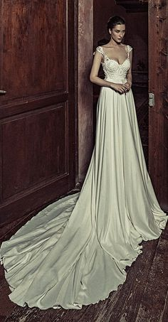Charming Acetate Satin Scoop Neckline A-Line Wedding Dresses With Beaded Embroidery