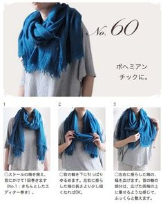 60 ways how to use scarfs Fur Fashion, Fashion Books, Love Fashion, Fashion Beauty, Fashion Dresses, Womens Fashion, How To Wear A Blanket Scarf, Ways To Wear A Scarf, How To Wear Scarves