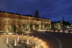Piazza Keskustori illuminata a Tampere Central Square, Helsinki, Lighting Design, Places Ive Been, Facade, Places To Visit, Urban, Mansions, Park