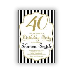 Items similar to Gold Happy Birthday Invitations Cards 5 x 7 inch Milestone birthday Eat drink be forty Cheers to 40 on Etsy Invitation Cards, Invitations, 65 Years Old, Diy Banner, Year Quotes, Milestone Birthdays, You Are Invited, Happy Birthday, Birthday Ideas