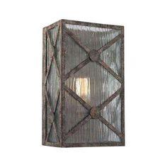 Radley 1-Light Malted Rust Wall Sconce Rustic Wall Sconces, Bathroom Wall Sconces, Modern Wall Sconces, Garage Lighting, Elk Lighting, Wall Sconce Lighting, Exterior Light Fixtures, Bronze, Glass Panels