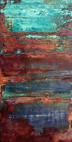 finds identity with shapes TEXTURE- Rust and turquoise.oooohhhh, if I could paint a piece of furniture to replicate these colors/patinaTEXTURE- Rust and turquoise.oooohhhh, if I could paint a piece of furniture to replicate these colors/patina Peeling Paint, Art Plastique, Textures Patterns, Painting Inspiration, Abstract Art, Abstract Nature, Abstract Landscape, Colours, Artwork
