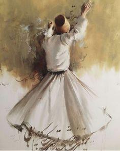 Dance Paintings, Islamic Paintings, Arabic Calligraphy Art, Iranian Art, Turkish Art, Watercolor Art, Art Drawings, Canvas Art, Whirling Dervish