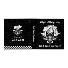 """Add your name to this cool customizable recipe binder, which features a sinister skull chef wearing his chef hat. Encircled in front of silver platter with crossed chef knives and damask design, Entitled """"Bad Ass Recipes,"""" the text can be removed or replaced with what you choose. Makes a great gift for anyone with a fierce passion for cooking. Visit www.zazzle.com/thechefshoppe and www.zazzle.com/whiskeybusiness, to see more cool culinary themed skulls."""