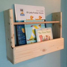 Wall Mounted Bookshelf - Unfinished Pine // on Etsy by KidsKreationsOnEtsy