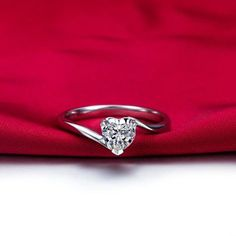 Luxury Platinum Plated 925 Sterling Silver 0.5 Carat Women's Promise Ring / Engagement Ring
