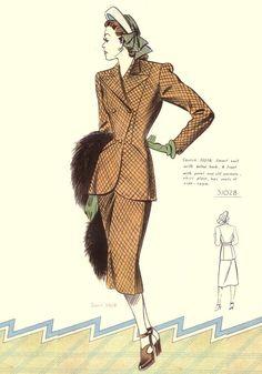 c1948 Pattern Drafting Sketch 3028