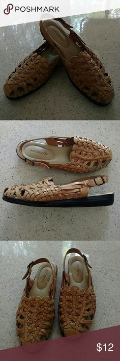 """Softspots Leather Huracche style Sandals Gently use. No damage, no dirt. Comfy, non slip, cushioned sole. 1"""" heel. Adjustable heel  strap. No toe fungus or athletes foot. Softspots Shoes Sandals"""