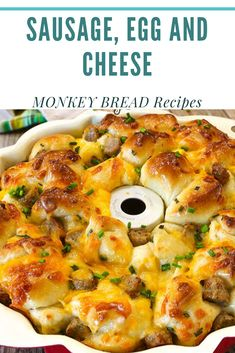 SAUSAGE, EGG AND CHEESE MONKEY BREAD  #SAUSAGE, #EGG AND #CHEESE #MONKEY #BREAD #SNACKS Sausage, Egg and Cheese Monkey Bread is the perfect pull-apart breakfast of your dreams. They are soft and tender bread bites with sausage, fluffy scrambled eggs and ooey gooey cheese, topped with a garlic herb butter! Breakfast Bread Recipes, Breakfast Bites, Savory Breakfast, Sausage Breakfast, Best Breakfast, Pull Apart Breakfast Bread, Pull Apart Bread, Breakfast Club, Raw Food Recipes