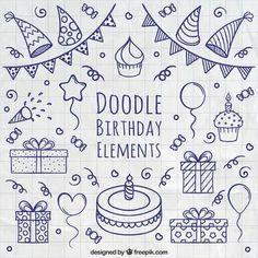 Doodle Geburtstag Elemente Kostenlose Vektoren