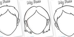 Blank Faces Templates - face, features, eye, template, mouth, lips, ourselves, all about me, emotions, feelings, face, faces