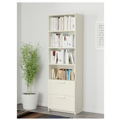 BRIMNES Bookcase, white, 23 Adjustable shelves, so you can customize your storage as needed. Smooth-running drawers with drawer stops to keep them in place. Hemnes Bookcase, Bookcase With Drawers, Bookcase With Glass Doors, Ikea Bookcase, Bookshelves, Bookcase White, Bedroom Bookcase, Brimnes, Standing Shelves