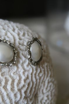1950s Silver Pearl Earring with Diamond Embellishment