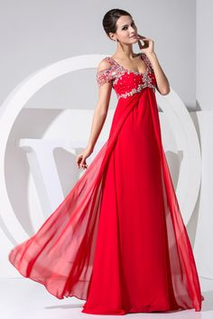 herafa p31031-12 Evening Gowns Elegant Off Shoulder Cap Sleeve Delicate Beading Long 0 A-Line Red