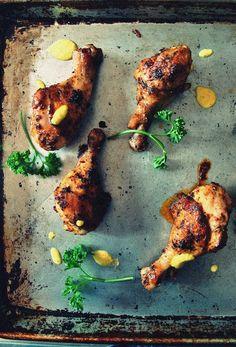 peruvian-style chicken drumsticks + spicy aji amarillo dipping sauce