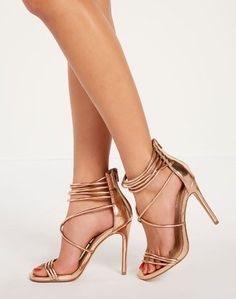 Strappy Heel Rose Gold Strappy Heels, Stiletto Heels, High Heels, Sexy Legs, Rose Gold, My Style, Womens Fashion, Stuff To Buy, Shopping