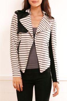 striped moto jacket