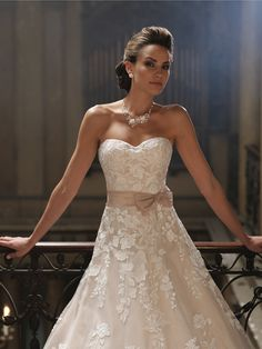 David Tutera for Mon Cheri | Style No. › 213247 | Wedding Dresses 2013 Collection -Strapless organza and Venise lace full A-line wedding dr...