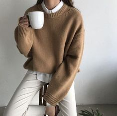 brown wool jumper white trousers shirt clothes korean fashion spring school outfits street everyday casual comfy aesthetic soft minimalistic kawaii cute g e o r g i a n a : c l o t h e s Korean Outfits, Mode Outfits, Winter Outfits, Casual Outfits, Fashion Outfits, Womens Fashion, Fashion Ideas, Fashion Clothes, Fasion