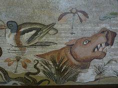 Roman Mosaic. Hippopotamus. Pompeii, Italy.