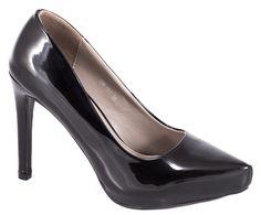 Pantofi cu platforma - Pantofi negri cu platforma DB-151N - Zibra