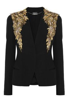 Alexander McQueen #AlexanderMcQueen #fashion #style - black jacket with gold embroidery <3 amazing epaulettes :)