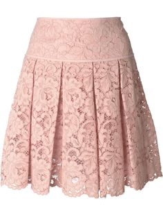Blush pink cotton blend pleated lace mini skirt from DKNY featuring a high waist, a pleated design, a floral lace pattern, a concealed fastening and a scallope… Lace Mini Skirts, Pleated Skirt, Dress Skirt, Lace Dress, Pink Lace Skirt, Waist Skirt, Vetements Clothing, Outfit Trends, Mode Style