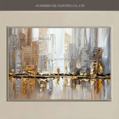 Original Hand Painted Modern Knife Building Scenery Oil Painting Wall Decor Street Landscape For Room Decor Painting On Canvas