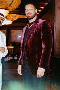 Drake wearing  Tom Ford Shelton Base Velvet Sports Jacket