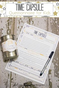 This New Years Time Capsule Printable Questionnaire for Kids is such a fun New Years tradition to start with your kids. Just have them fill them out and use the cute label to make a time capsule to be opened on New Years Day next year. New Years With Kids, Kids New Years Eve, New Years Eve Games, New Years Eve Party, New Years Eve Traditions, Family Traditions, New Year's Eve Activities, Family Activities, Baby New Year