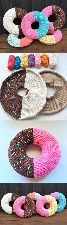 Crochet doughnut pillows