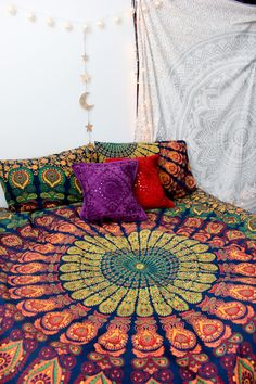 Rainbow Aura Mandala Tapestry by Lady Scorpio. Bohemian Decor | Photographed in the mountains of Utah | Photography by Stephanie Renfro