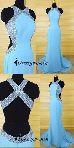 2016 prom dresses, mermaid prom dresses, long prom dresses, light sky blue prom dresses