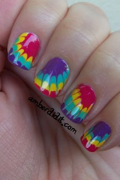 tie-dye nails will make your look super groovy