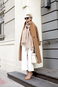 top knot, sunglasses, camel coat, blush pinstriped scarf, white culottes, color-block bag and suede pumps #style #fashion #winter #atlanticpacific