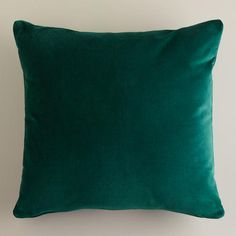 "Dark Green Velvet Throw Pillows (Cost Plus World Market) (18"" square, $9.99; 24"" square, $29.99) (removable cover is 100% cotton velvet and is machine washable [cold, gentle; line dry]) [smaller image]"