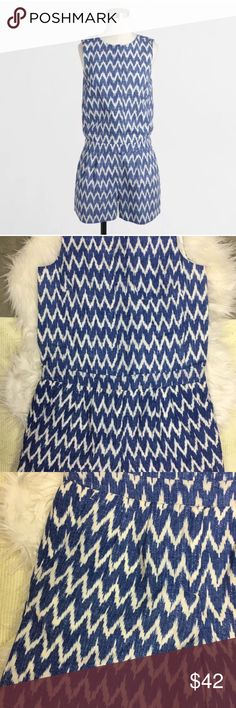NWT // JCrew Factory Chevron White and Blue Romper NWT // Women's JCrew Factory Chevron White and Blue Romper // Sz 2 J.Crew Factory Other