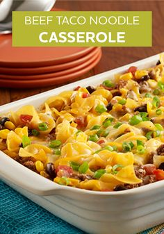 Beef Taco Noodle Casserole is an easy recipe to make for dinner any day of the week!