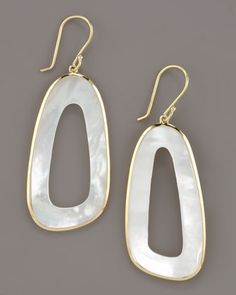 Irregular Oval Mother-of-Pearl Earrings by Ippolita at Neiman Marcus.