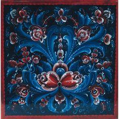 Burgundy Telemark Style Rosemaling Design Trivet by Gayle Oram