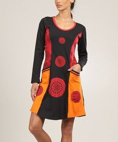 Take a look at this Red Flower Panel Shift Dress by Aller Simplement on #zulily today! $32 !!