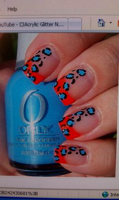cheeta printed nail designs  with orly nail-polish! Add design to pop any outfit!
