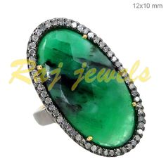 14k Gold Emerald Pave Diamond Vintage Style Ring New Jewelry 925 Sterling Silver #Handmade